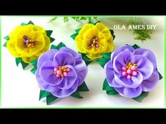 """Hello everyone and welcome to my channel """"Ola ameS DIY""""! Satin Ribbon Flowers, Cloth Flowers, Diy Ribbon, Ribbon Crafts, Diy Flowers, Ribbon Hair, Hair Bows, Making Fabric Flowers, Paper Flowers Craft"""