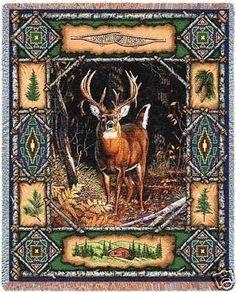 70x54 DEER BUCK Lodge JACQUARD Afghan Throw Blanket