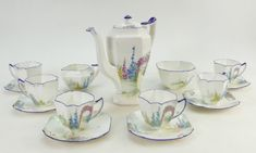 Shelley tea set in the Archway of Roses design. Next Sale, The Saleroom, Location Map, Wine And Spirits, Queen Anne, Tea Set, Wines, Pottery, Shapes