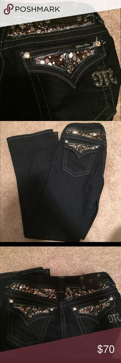 Miss Me dark denim bling jeans! MissMe dark denim bling jeans! Size 28(Easy Boot cut), worn maybe twice. In beautiful like new condition. Make offer Miss Me Jeans Boot Cut