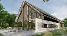 Moderne schuurwoning Veenendaal | The Citadel Company Building Design, Building A House, Companies House, Modern Courtyard, Narrow House, Cabana, Build Your Own House, Villa, Unusual Homes