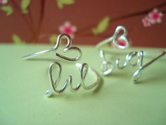 "Set of two matching .925 sterling silver  (""big"" & ""lil"") Sorority Personalized college rings...handmade wire big, little sisters with heart..."