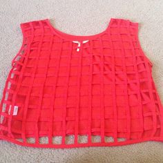Red lattice back top Adorable red lattice back top. Absolutely adorable when paired with a bandau. Boxy fit. Worn only a few times. Black Poppy Tops