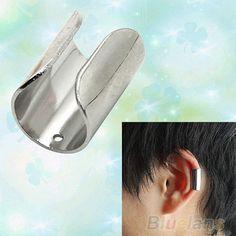 Womens Mens Punk Gothic Silver Color Wide Smooth Cuff Wrap Ear Clip Earring B52U #eroute66US #Cuff