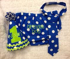 Boys Cake Smash Outfit Blue Green Squares Diaper Cover Tie
