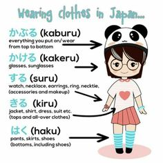Wearing clothes in Japanese Japanese Verbs, Japanese Phrases, Study Japanese, Japanese Kanji, Japanese Culture, Japanese Grammar, Language School, Language Study, Language Lessons