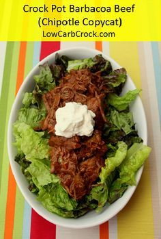 The Barbacoa beef at Chipotle is my favorite meat at the restaurant.  I love love love it on salads!  After much trial and error, this is a crock pot copycat version I developed for home. Ingredien…
