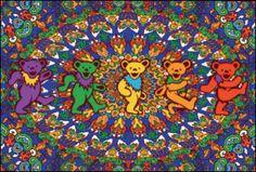 Grateful Dead Art ~ classic heavy metal rock music poster ☮~ღ~*~*✿⊱ レ o √ 乇 ! Grateful Dead Image, Grateful Dead Dancing Bears, Grateful Dead Wallpaper, Trippy Tapestry, Hippie Bedding, Hippie Wallpaper, Wallpaper Wallpapers, Black Light Posters, Hippie Art