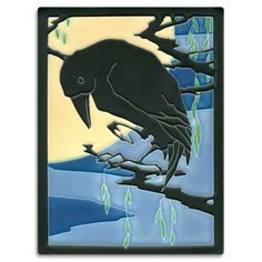 """Motawi Tileworks Collection """"Raven"""" is inspired by a print Yamamoto created to convey her own fascination with the bird. Actual tile size: 5-13/16"""" x 7-13/16"""""""