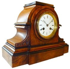 Superb Victorian light rich walnut and ebonised cased clock