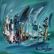 """Tableau contemporain intitulé """"les comètes magiques"""" par l'artiste peintre ame sauvage http://www.amesauvage.com/artiste-peintre-contemporain-2/tous-les-tableaux/tableau-abstrait-vert.html"""