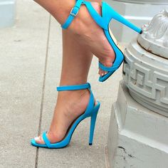 Blue Ankle Strap Heels! Blue Ankle Strap Heels! They run a little small! They do have some damage on both the right and left heel and shown in the images! 4.5 inch heel Shoes Heels