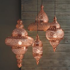 Moroccan Hanging Lamp Collection - Bright Copper