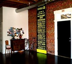 The more I see glossy exposed brick, the more I like it. Especially when it has some pop art on top. Amanda Orcutt of Amandromeda - Design*Sponge Brick Accent Walls, Brick Wall, Accent Wall Colors, Wall Colours, Accent Wallpaper, Brick Interior, Accent Wall Bedroom, Exposed Brick, Woodworking Projects Plans