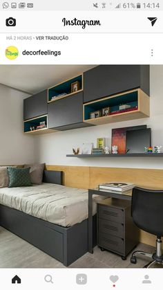 Looking for a teen bedroom remodel idea? Let's figure out 35 coolest teen bedroom ideas. Let's start with styling your bedroom! Shelves In Bedroom, Bedroom Desk, Small Room Bedroom, Home Bedroom, Bedroom Furniture, Tiny Bedrooms, Furniture Plans, Kids Furniture, Teen Bedroom