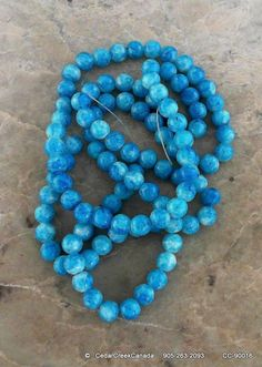 Skyblue 8mm Round Drawbench Glass Beads        by CedarCreekCanada