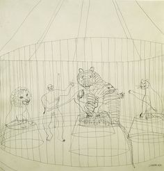 Alexander Calder - The Wild Beast Cage, 1932 Pen and ink on paper Whitney Museum of American Art, New York, US Alexander Calder, Digital Museum, Artist Sketchbook, Whitney Museum, Museum Of Modern Art, Drawing S, Contour Drawings, Wire Drawing, Wire Art