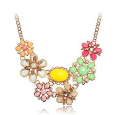 Gold Plated Colorful Crystal Flower Necklace
