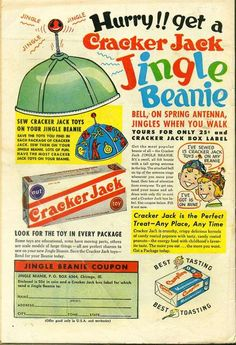 Sew Cracker Jack Toys On Your Jingle Beanie! Vintage Comics, Vintage Ads, Vintage Prints, Vintage Posters, Retro Posters, Funny Vintage, Vintage Stuff, Vintage Signs, Old Advertisements