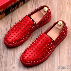 Mens Spike Rivet Loafers Studded Rhinestone Slip On Leather Leisure Pumps Shoes Mens Spiked Loafers, Mens Dress Loafers, Loafers Men, Flat Dress Shoes, Pump Shoes, Men's Shoes, Pumps, Shoes Men, Flats
