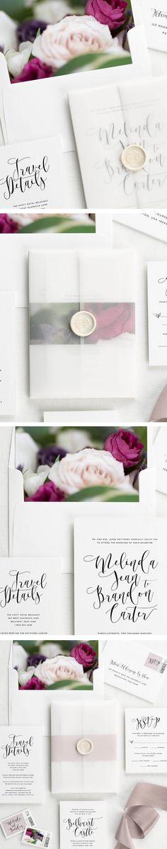 Light purple floral wedding invitations