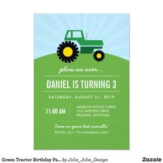 Shop Green Tractor Birthday Party Invitation created by Jolie_Jolie_Design. Tractor Birthday, Farm Birthday, Animal Birthday, Birthday Party Invitations, Birthday Parties, Wedding Invitations, John Deere Party, Teacher Party, Personalized Note Cards