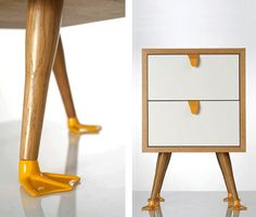 The Portuguese design duo at Galula Studio created a line of furniture that is meant to elevate your mood. How can a table with duck feet not cheer you up? The Tio is a two drawer end table with quirky little webbed feet that make you do a double take after first glance.