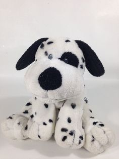 Ty Pluffies Dotters Puppy Dog Dalmatian Plush TyLux Pluffy Sewn Eyes 2007 #Ty