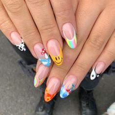 Edgy Nails, Aycrlic Nails, Chic Nails, Funky Nails, Stylish Nails, Swag Nails, Emoji Nails, Funky Nail Art, Colorful Nails