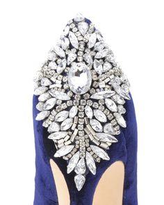 Navy Kiara Velvet Embellished Evening Shoe