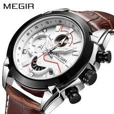 9b8de8b5637 MEGIR Relógio Do Esporte Militar Dos Homens Top Marca de Luxo Relógios de  Quartzo Relógio de Homens Do Exército de Couro Criativo Cronógrafo Relogio  ...