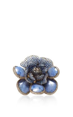 One of a Kind Lapis Flower Ring with diamonds and sapphires set in 18k Yellow Gold by Wendy Yue - Resort 2015 (=)