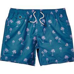 Blue palm tree print swim shorts - swim shorts - shorts - men
