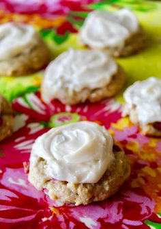 Soft Rhubarb Cookies with Cream Cheese Frosting