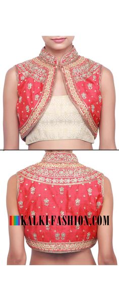 Buy online at: http://www.kalkifashion.com/jacket-blouse-embellished-n-kundan-and-zardosi-embroidery-only-on-kalki.html Free shipping worldwide.
