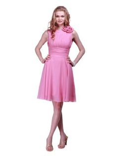 Topwedding Pleated Knee Length Chiffon Bridesmaid Dress with Flowers, Champagne,14W Topwedding,http://www.amazon.com/dp/B00A72U5BA/ref=cm_sw_r_pi_dp_hiQqrb1ET1R31YJS