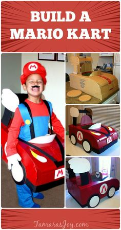 Build a mario kart halloween costume out of a cardboard box. This mario kart halloween costume is cheap to make and an easy mario kart halloween costume! Mario Costume Diy, Mario Halloween Costumes, Super Mario Costumes, Halloween Kostüm, Mario Cosplay, Car Costume, Mario Birthday Party, Mario Party, Cardboard Car
