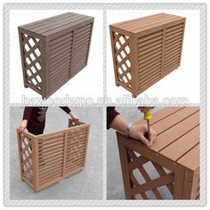 Air Conditioner Cover Outdoor, Diy Air Conditioner, Pallet Wood, Wood Pallets, Ac Cover, Small Garden Landscape, Balcony Design, Covered Boxes, Humble Abode