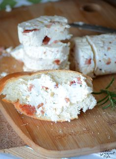 Homemade bacon butter - OMG, sounds decadent! 2 cups heavy whipping cream, 2 Tbsp ice cold water, 3 slices of thick cut bacon (cooked, crumbled), 3 sprigs fresh Rosemary. Pour whipping cream in food processor and mix for 5 mins or until cream goes from liquid to whipped cream consistently to chunky solid. Drain out excess water, then add ice cold water to help butter stay together.     Pulse for another min, drain again. Add in bacon and rosemary and pulse until combined. Place in fridge to…