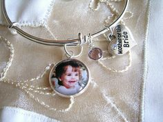 Mother of the Bride gift, Mother of the Groom expandable photo charm bracelet with Swarovski birthstone & heart charm with crystal