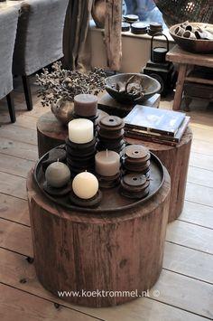 bijzettafels van oud hout