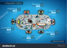 Infographic Teamwork And Brainstorming With Flat Style. A Lot Of Design Elements Are Included: Computers, Mobile Devices, Desk Supplies, Pencil,Coffee Mug, Sheets,Documents And So On Stock Vector Illustration 235445785 : Shutterstock