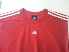 ADIDAS Men's T-Shirt XL Red & White Striped Crewneck Sleeveless 100% Polyester  #adidas #Crewneck #ebay #adidas #Crewneck