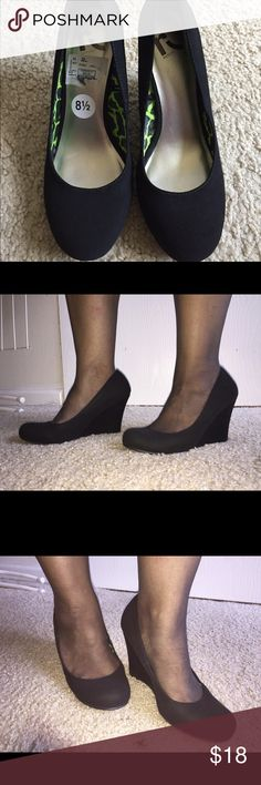 Suede wedges Black suede wedges in size 8.5 from Ross.worn once. Excellent condition. Shoes Mules & Clogs