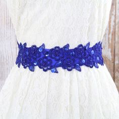 Royal Blue Beaded Lace Sash, Bridal Blue Sash, Bridesmaid Blue Sash, Flower Girl Sash. Cobalt Blue Sash by girlslovelike on Etsy https://www.etsy.com/listing/231502543/royal-blue-beaded-lace-sash-bridal-blue