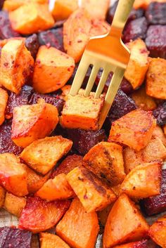 Oven Roasted Beets and Sweet Potatoes - Perfect side dish and great for meal planning recipes!
