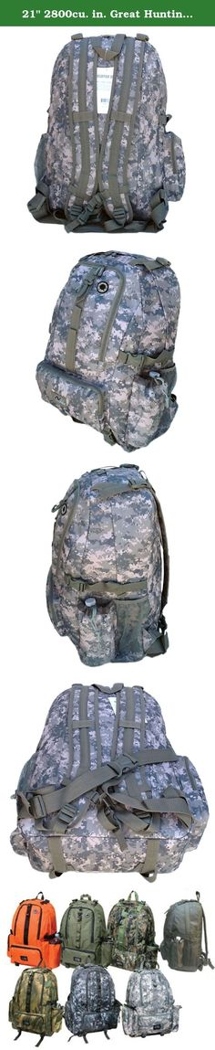 """21"""" 2800cu. in. Great Hunting Camping Hiking Backpack DP021 DM DIGITAL CAMOUFLAGE. PRODUCT DETAILS Capacity: 2800 cu. in. Dimensions & weight: 21""""(Height) x 15""""(Width) x 8""""(Depth) 2 lbs empty (Approximated weight) Compartments & Pockets: 1 large & roomy compartment 2 front pockets with heavy-duty webbing lines 1 side pocket, 1 mesh pocket and 1 water bottle holder Materials: Polyester with PVC water resistant lining #10 Heavy-duty zipper Accessories & additional features: 2 Compression..."""