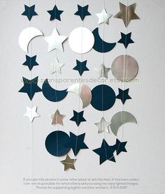Silver and Blue Moon and Stars garland, I Love you to the Moon and Back Decorations, Nursery Wall Decor, Paper garland, Christmas Gift Favor - Activite Manuelle Noel Primaire - Nursery Wall Decor, Baby Room Decor, Moon Nursery, Star Baby Showers, Baby Boy Shower, Outer Space Party, Daddy Daughter Dance, Galaxy Theme, Moon Party