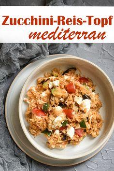 With feta / tofu. Zucchini Rice, Zucchini Aubergine, Rice Recipes For Dinner, Garlic Chicken Recipes, Balanced Meals, Evening Meals, Veggies, Healthy Recipes, Ethnic Recipes