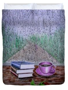 Rainy Morning Duvet Cover for Sale by Faye Anastasopoulou Rainy Morning, Fusion Art, Ocean Scenes, Pattern Pictures, My Themes, Bed Throws, Design Patterns, Basic Colors, Artist At Work